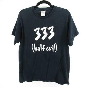 333 Half Evil Print T Shirt Tee 666 Goth Funny